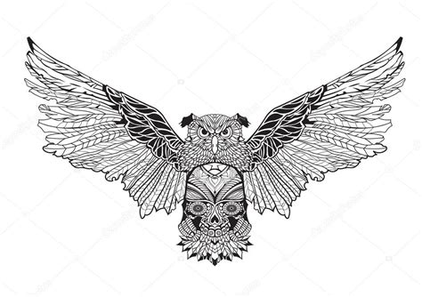 angel tattoo spread wings owl with spread wings holding a skull in his paws contour