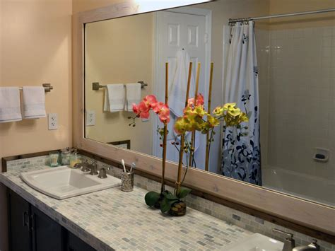 Frame Around Bathroom Mirror Add A Wood Frame Around A Plain Mirror Diy Bathroom Ideas Vanities Cabinets Mirrors More