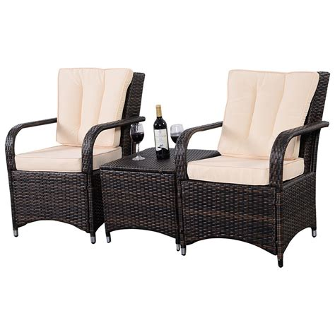 Wicker Patio Furniture 3 Qualited Patio Pe Rattan Wicker Furniture Set Outdoor Seat Cushioned Mix Brown
