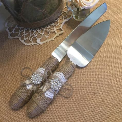 Wedding Cake Server by Cake Server And Knife Set Burlap Wedding Rustic Wedding