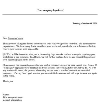 Letter Of Response To Business customer complaint response letter template customer