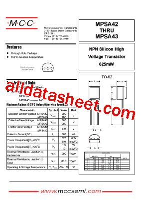 transistor mpsa42 mpsa42 datasheet pdf micro commercial components