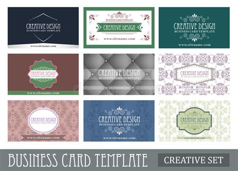 Business Card Presentation Template Illustrator by Set Of Creative Vintage Abstract Business Card Template