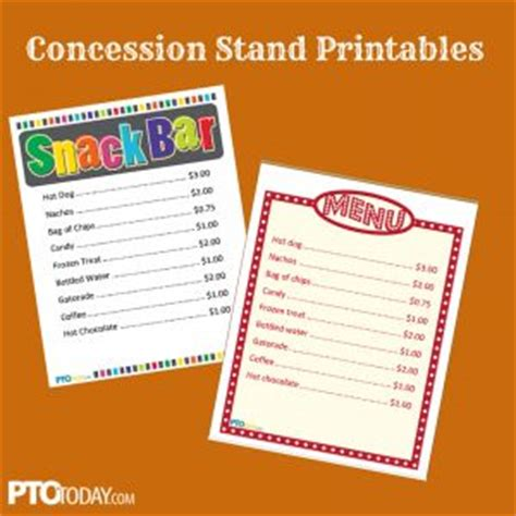 concession menu template concession stand printables school stuff