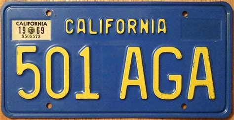California Vanity License Plates by Classic 1950s Through 1970s California License Plates Now