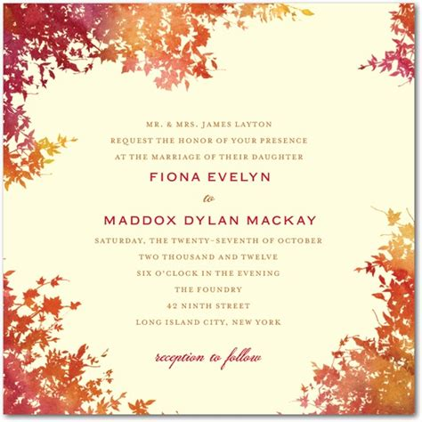 8 pretty fall wedding invitations wedding guide