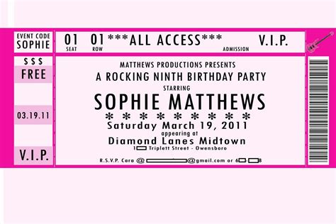 ticket birthday invitation template 32 best vip ticket pass template designs for your events