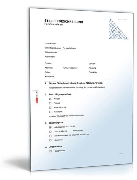 Kostenlose Vorlage Stellenbeschreibung Stellenbeschreibung Personalreferent In