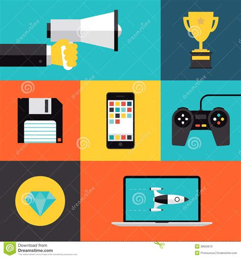 Game Design Vector | playing games flat icons set stock vector illustration