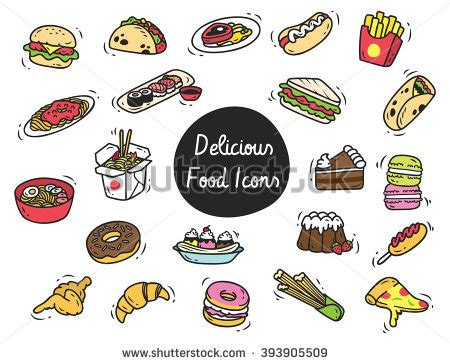 doodle food icons set cakes pies different flavors stock vector 126445757