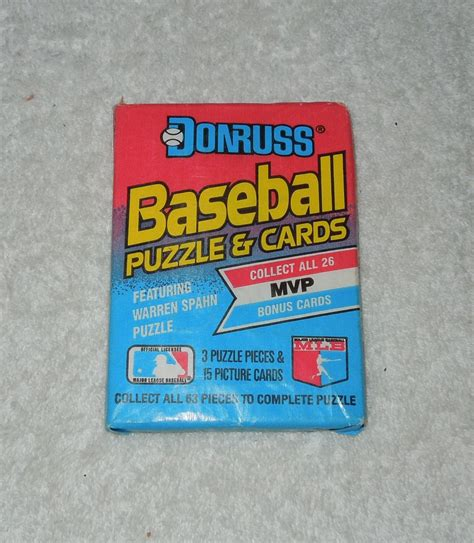 puzzle cards leaf donruss new unopened pack of baseball cards 1989