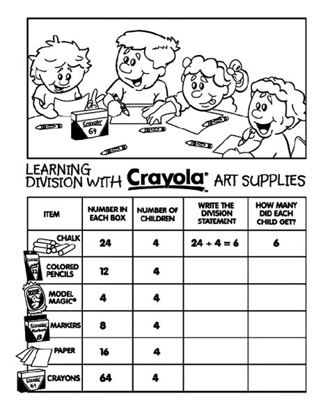 coloring coloring page learn to color by following the color numbers objects to learning division with crayola supplies division