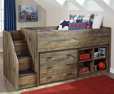 bunk bed with bookcase signature design by ashley tate loft bed w stairs