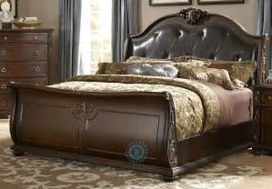 hillcrest manor cal king genuine leather sleigh bed