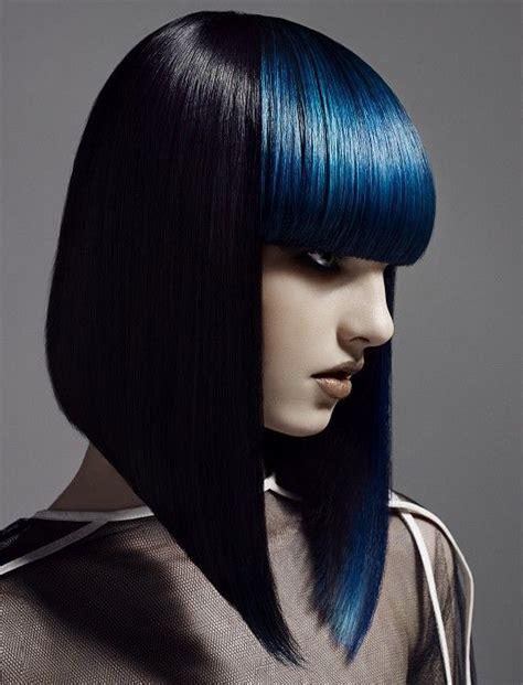 bob sharp bob hairstyles sharp bob contrasts with blunt electric blue fringe love