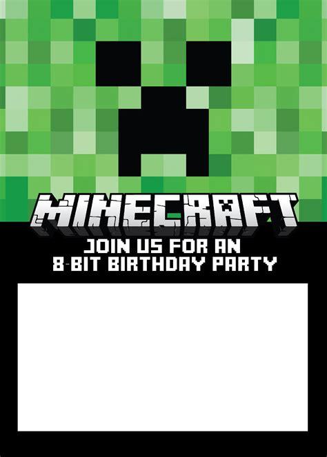 minecraft invitation templates birthday buzzin ryker 2016 9th