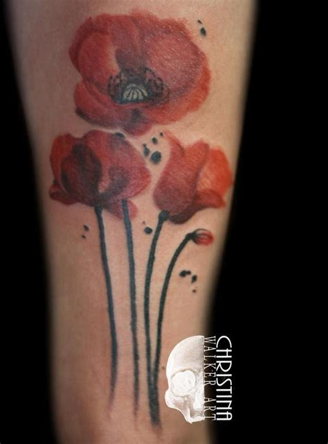poppies tattoo watercolor poppy by walker tattoos