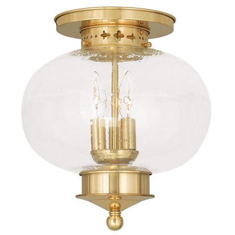 Livex Harbor Polished Brass 3 Light Indoor Outdoor Ceiling Indoor Ceiling Light Fixtures