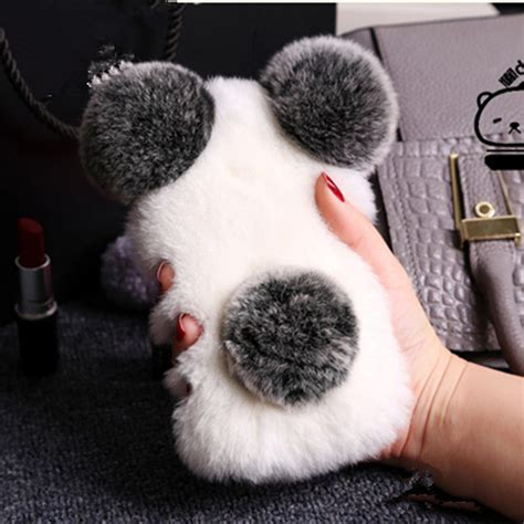 Iphone 6 6s Soft 3d Rabbit Fur Plush Flurry Sarung Casing 3d plush rabbit fur panda soft silicone phone