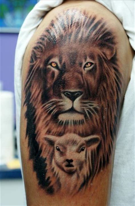 lion and lamb tattoo by gido tattoonow