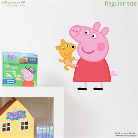teddy wall stickers peppa pig with teddy wall sticker stickerscape uk