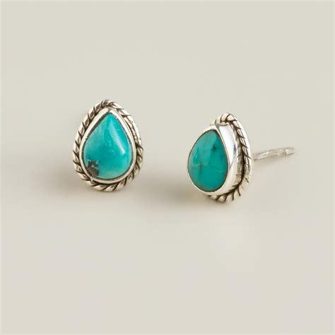 sterling silver turquoise teardrop stud earrings world
