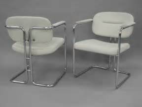 Chrome And Leather Dining Chairs White Leather Dining Chairs On Chrome Frame By Dux Company At 1stdibs