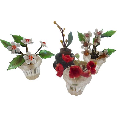dollhouse glass vintage european dollhouse miniature glass flower pots