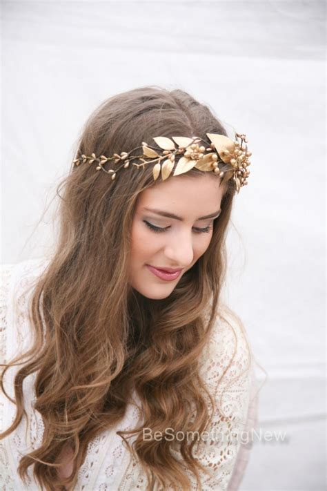 a gold sprayed flower crown wedding hairstyles photos gold rustic bohemian wedding wreath headpiece of golden