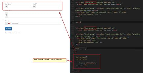 bootstrap jquery layout use css to set fields layout side by side in jquery