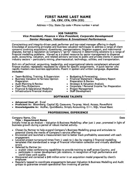 vice president of finance resume template premium resume sles exle