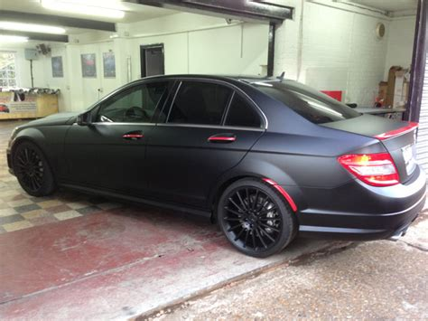 Wrap Mat by Mercedes Amg C Class Matte Black Wrap By Wrapping Cars