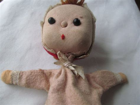 Handmade Puppet - vintage doll puppet on a stick handmade doll puppet and