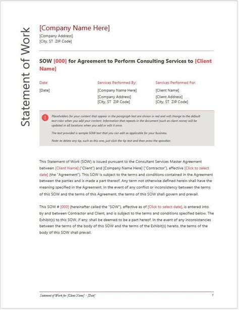 government statement of work template statement of work sow for services or consulting company