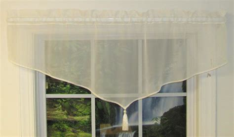 Pointed Valances oyster bay voile tailored swag thecurtainshop