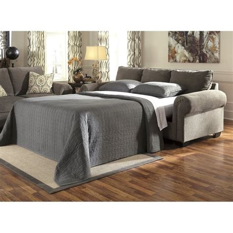 emelen sofa and loveseat ashley emelen chenille queen size sleeper sofa in alloy