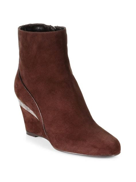 aquatalia by marvin k yale suede wedge ankle boots in