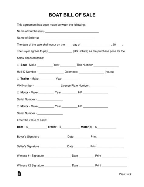 free tennessee watercraft bill of sale form pdf eforms free