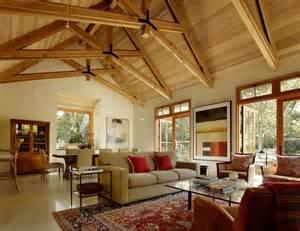 Scissor truss design living room traditional