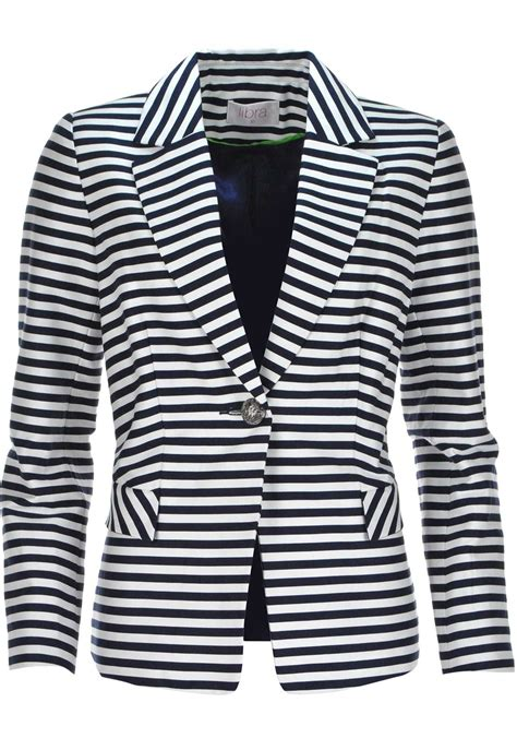 striped sleeve blazer grey navy libra striped cotton blazer jacket navy and white mcelhinneys