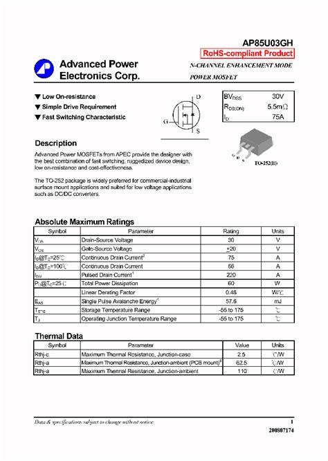 datasheet transistor n5551 ap85u03gh 4296942 pdf datasheet ic on line