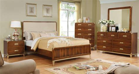 tychus 5pc bedroom set cm7559f in oak w fabric headboard