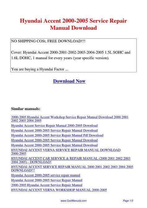 hyundai accent service manual zofti free downloads hyundai accent 2000 2005 service repair manual pdf by linda pong issuu