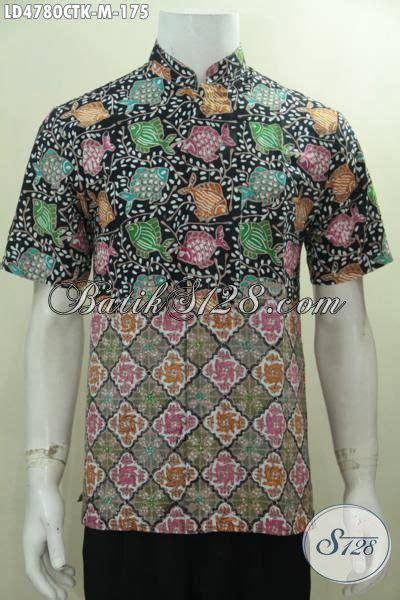baju kemeja batik cap tulis dua motif hem batik lengan pendek kerah shanghai kwalitas halus