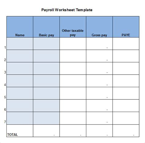 payroll template free 5 payroll worksheet templates free excel documents