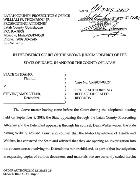 Idaho District Court Records Department Of Health Welfare Order Authorizing Release