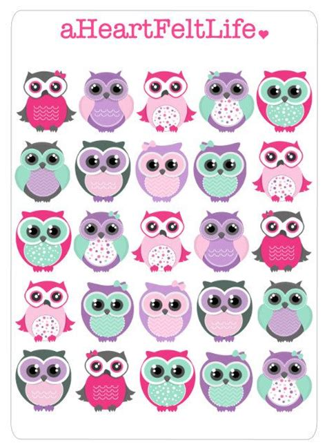 printable owl stickers erin condren girly and planners on pinterest