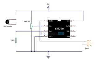 simple alarm circuit using thermistor germanium diode and lm341