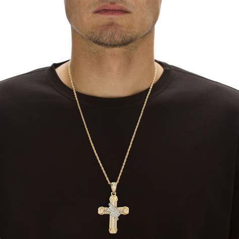 cadena hombre cruz cadena c dije de cruz dorados c cristales hombre 1 118