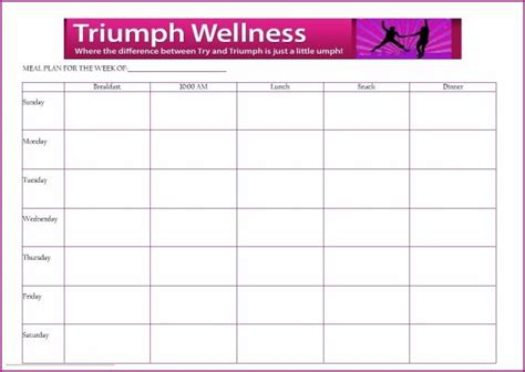 meal planning template triumph wellness fuhrman style recipes meal planner template